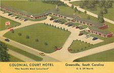 Greenville Sc Colonial Court Hotel/Motel Bird'S-Eye View Roadside Linen P/C