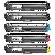 5PK TN-221 TN-225 Brother Toner Cartridge MFC-9330CDW MFC-9340CDW HL-3140CW
