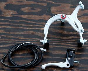 White Old School BMX Bike MX Rear Brake Lever Cable Caliper Cruiser Bicycle