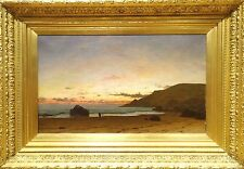 Fine Large 19th Century Beach Sunset Coastal Landscape Antique Oil Painting