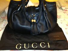 Gucci Black Leather Gold Hardware Bag/Handbag/Purse AUTHENTIC NEVER USED