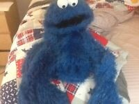 Cookie Monster Homemade Puppet with Live Hands (1 of a Kind, has a tear in jaw)