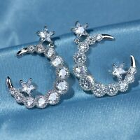 18k white gold made with Swarovski crystal stud dangle round moon star earrings
