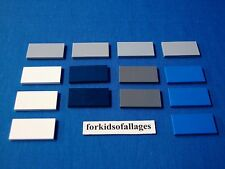 14 Lego 2x4 Finishing Tiles/Plates Smooth Parts Lot D White Dark Blue Lt Dk Grey