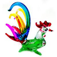 Chicken #14 hand blown art glass miniature figurine crystal dollhouse animal