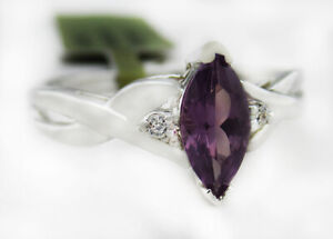 ALEXANDRITE & GENUINE DIAMOND RING 10K GOLD ** FREE SHIPPING ** New With Tag **