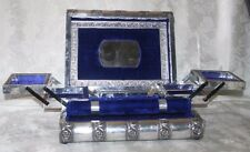 Silver Tone Metal Fold Out Jewelry Box Blue Velvet Lined Elephant Designs on Top