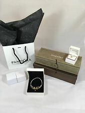 100% Authentic Pandora Sterling Silver w/14K Gold Barrel Clasp Bracelet w/ 10