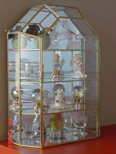 New House Style Glass Brass CURIO CABINET TABLE TOP display case w/Free shipping
