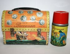 Vintage Buccaneer Dome Lunchbox & Thermos Treasure Chest Lunch Box Tin Litho Old