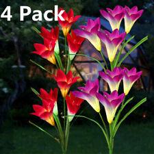 4 Pack Solar Lily Flower Light Garden Landscape Yard Patio LED Lamp Decor
