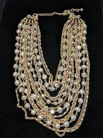 Vintage ART Brand Gold Tone Faux Pearl Multi Strand Statement Choker Necklace