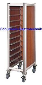 Tablettwagen, Abräumwagen, dunkle Holzoptik, GN 1/1, 10 Schienen