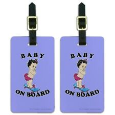 Baby On Skate Board Funny Humor Luggage ID Tags Carry-On Cards - Set of 2