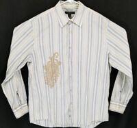 Express Men's Size XL Blue Tan Striped Long Sleeve Button Up Button Front Shirt
