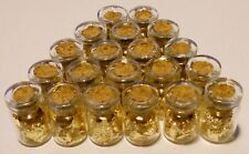 24k GOLD leaf flakes in 20 glass vials ¾X½ inch each sealed with cork NO LIQUID