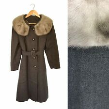 VINTAGE 60s WOOL PRINCESS SINGLE BREASTED BELT SWING COAT w GREY FUR MINK COLLAR