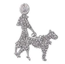 Elegant Art Deco Clear Sparkling Diamante Lady walking Dog Brooch Pin
