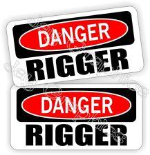 Hard Hat Stickers | DANGER ~ RIGGER | Funny Roughneck Rigging Helmet Decals USA
