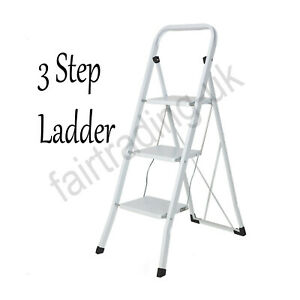 Home DIY New Folding 3 Step Ladder Safety Non Slip Mat Tread Small Stool Ladders