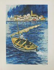 Lithografie - Amadeu Casals - Sailboat in the port of  Cadaques