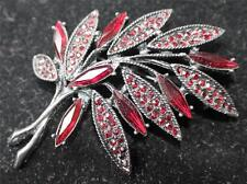 GRAZIANO SIGNED  BEAUTIFUL SPARKLING BROOCH/PIN WITH RED STONES #7 VINTAGE