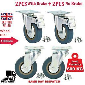 4 x Heavy Duty 100mm Rubber Swivel Castor Wheels with Brake Trolley Furniture UK