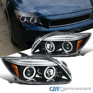For 05-10 Scion tC Pearl Black LED Dual Halo Projector Headlights Lamps Pair
