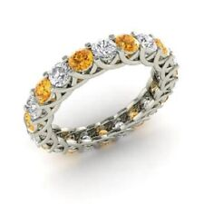 2.64 Ct Citrine Eternity Wedding Band 14K Real White Gold Diamond Ring Size N O