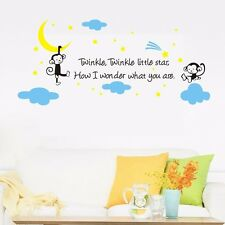 Twinkle Twinkle Little Star Monkey Wall Sticker Quote Kids Wall Vinyl Decal DIY
