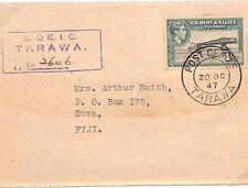 GILBERT & ELLICE KGVI Cover Registered *Tarawa* Fiji 1947 {samwells-covers}Y179
