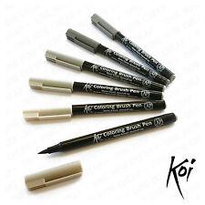 Sakura Koi - Blendable Water-Based Brush Pens - Plastic Wallet of 6 - Grey Set