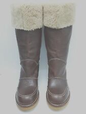 Womens Burberry Cognac Leather Shearling Mid Calf Heels Boots Shoes Size 37