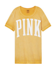 Victoria's Secret Pink CAMPUS Short Sleeve Tee TSHIRT Maize Yellow - XS -NWT