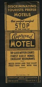 American Motel Association 1947 Approved Motel Guide & Trip Diary