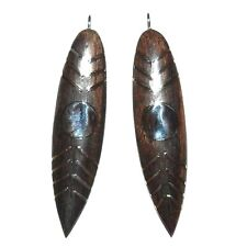 P2515 Dark Brown Lacquered Wood & Silver 62mmm Marquise Focal Pendant Drops 2pc