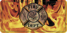 Fire Department Logo with Flames Metal License Plate [MP9013]