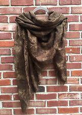 Donna Karan Collection Retro Brown Print Wool Large Huge Scarf Wrap Italy RARE!
