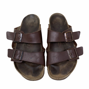 Birkenstock Brown Leather Arizona Sandals Unisex Sz 41 Double Buckle *Read*