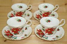 "Royal Albert Poinsettia (4) Cups, 2 7/8"" & (4) Saucers, 5 5/8"""
