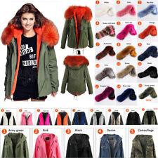 100% Real Raccoon Fur Parka Women Winter jacket Warm coat Hooded Military Casual