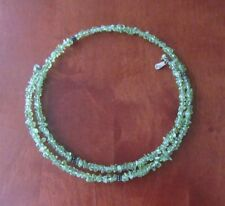 Doug Paulus Sterling Silver Necklace Green Stone Choker - Signed DP India .925