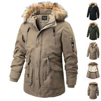 Mens Army Military Style Parka Jackets Cold Weather Winter Casual Hooded Coats
