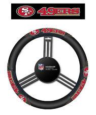 San Francisco 49ers Black Vinyl Massage Grip Steering Wheel Cover