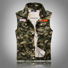 Men's Vest Denim Jacket Sleeveless Shirt waistcoat Camouflage jean Coat