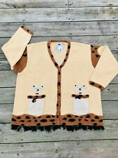 Storybook Knits 3X Womens Sweater Cat Tan Brown Fringe Cardigan Button Down