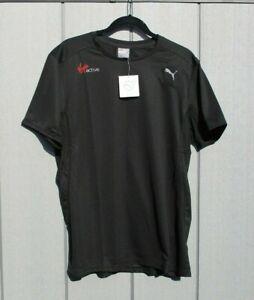 "Mens Puma T Shirt Dry Cell All Sports Gym Stretch T Shirt Black Large 42""/44"""