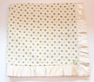 Children's Place Baby Blanket Satin Fleece Knit Soft White Ivory Green Polka Dot