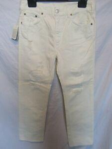 "Mauro Grifoni Women's Cream Distressed Jeans;Size 28 / UK Waist 33"", Leg 28"""