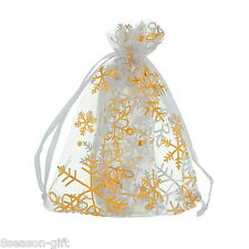 HX 25pcs 9x12cm Gold Snowflake White Organza Wedding Favours/XMAS Gift Bags